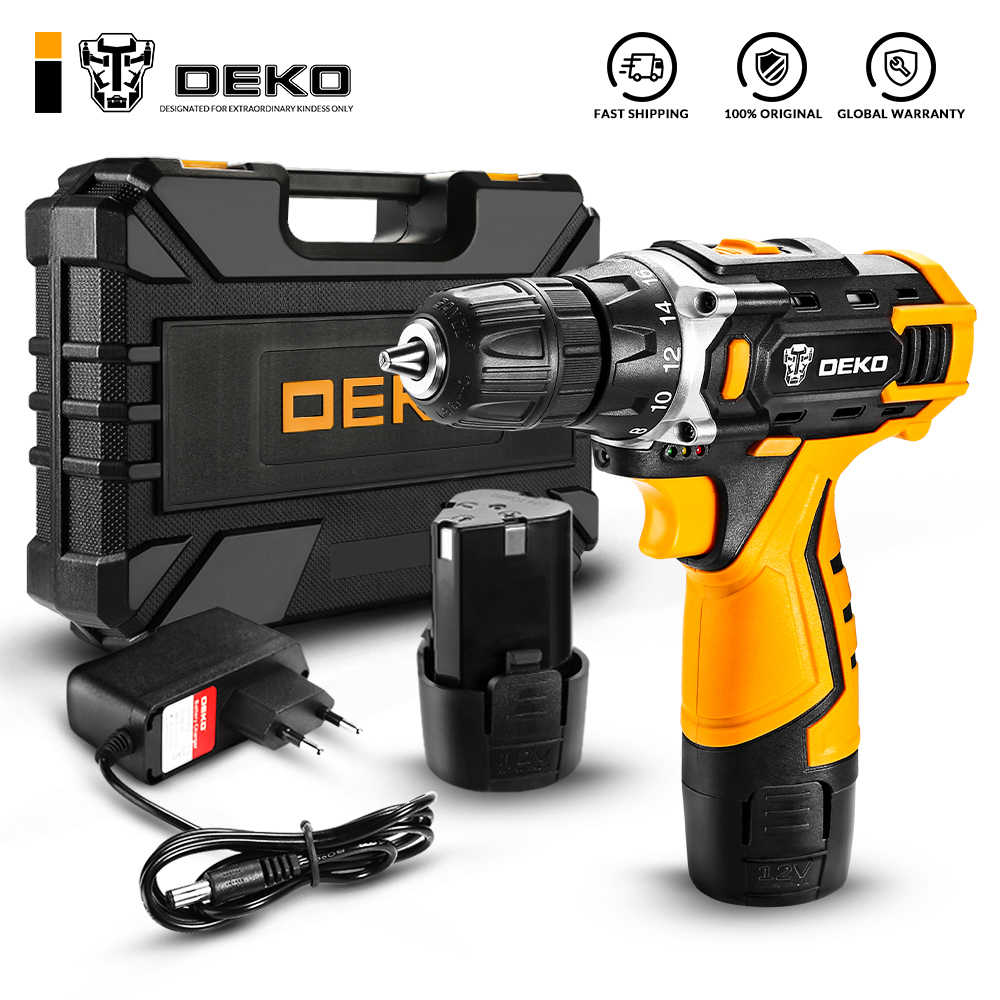 DEKO New Arrival Banger 12V 16V 20V Cordless Drill Electric Screwdriver Mini Wireless Power Driver DC Lithium-Ion Battery 3/8-In