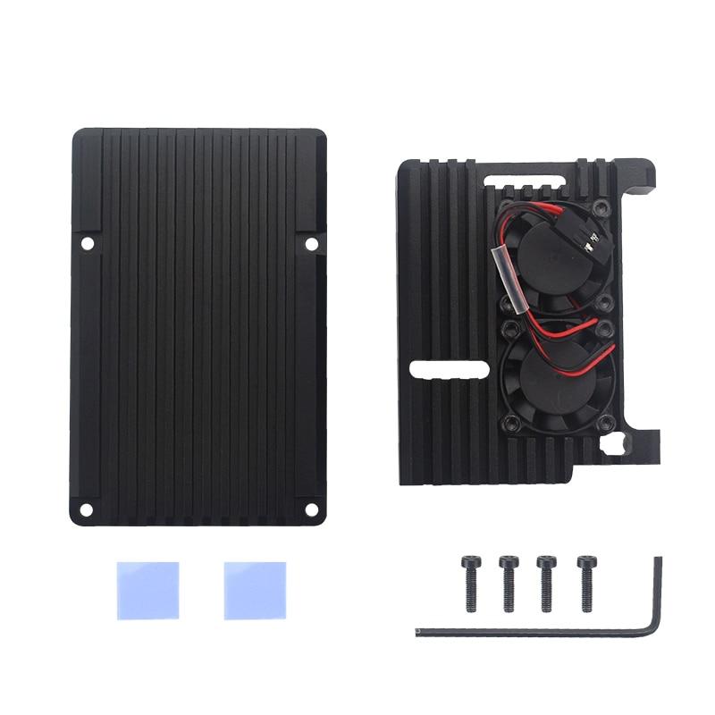 Оригинальный официальный Raspberry Pi 4 Модель B Комплекты двойной вентилятор Алюминиевый чехол + 32/64 ГБ sd-карта + адаптер питания + HDMI кабель для RPI ...