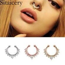 Sitaicery 10 шт кольцо для пирсинга носа с цирконием женщин