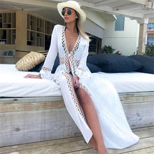 2020 Bikini Cover-Ups Kimono Vest Sexy Hollow Out Zomer Jurk Witte Katoenen Tuniek Vrouwen Beach Wear Swim Suit cover Up Q964(China)