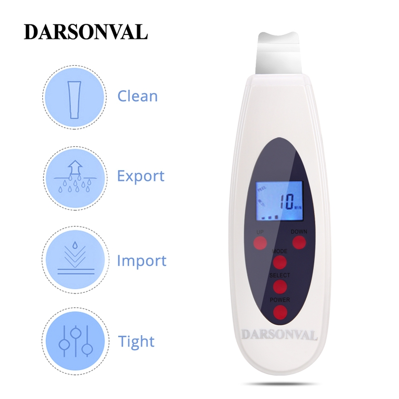 DARSONVAL LCD Face Scrubber Ultrasonic Face Cleansing Tool Skin Peeling Ultrasonic Facial Dermabrasion Acne Blackhead Remover-in Face Skin Care Tools from Beauty & Health