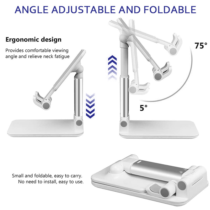 Cell Phone Folding Table Stand Telescopic Phone Holder Bracket for iPad iPhone Android Phones