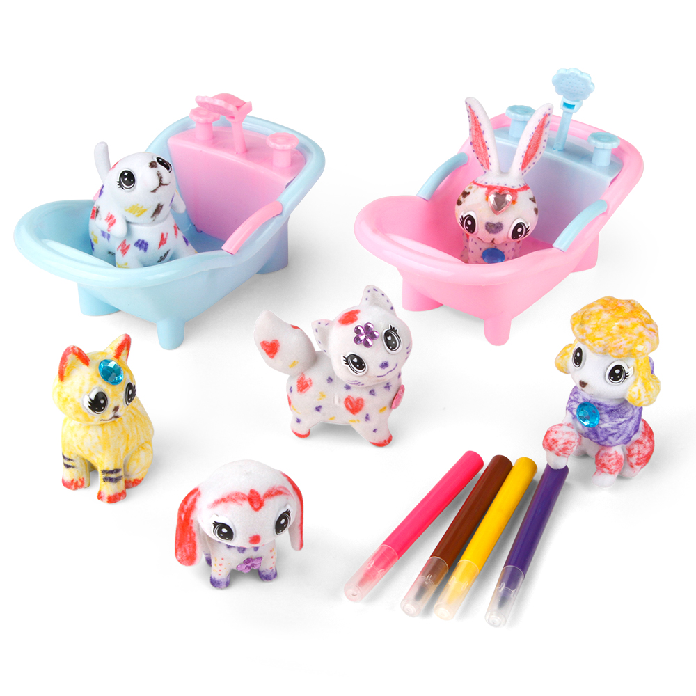 DIY Scribble Scrubbie Color Marker Adorable Paint Drawing Doodle Bath Fun Little Animal Pet Set Girls Game Educational Kids Toys