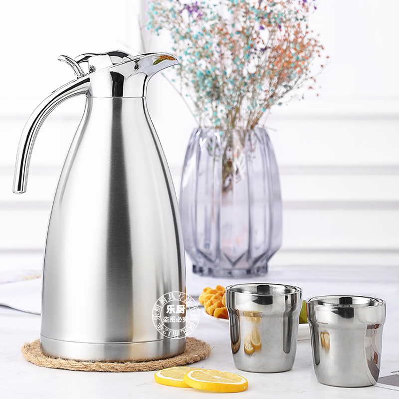 Set of 3 304 Stainless Steel Insulation Water Coffee Kettle and Tea Cups Keep Cold Kitchen Dining bar Cookware Drinkware