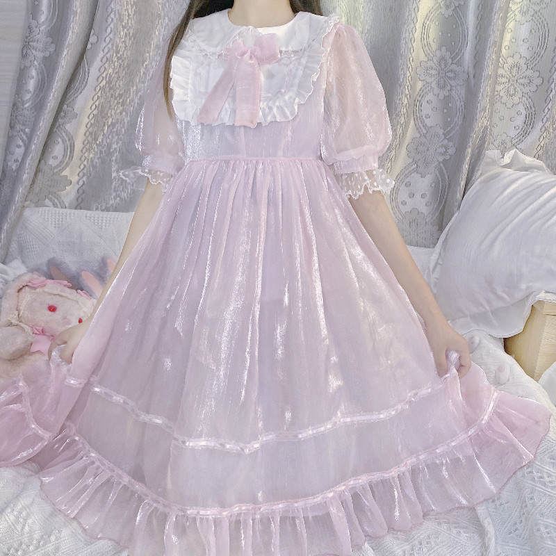 Verão lolita doce cosplay vestido adolescentes peter pan colar bonito kawaii macio menina rosa puff manga plissado vestidos de princesa preto