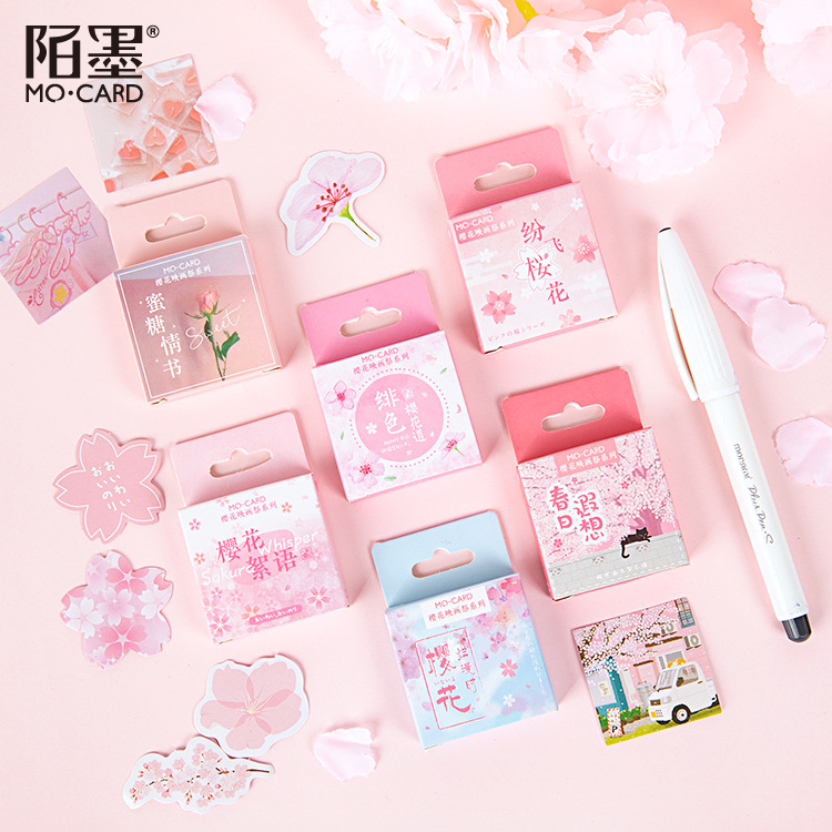 45pcs Cherry Blossoms Painting Stationery Stickers Sealing Label Travel Sticker Diy Scrapbooking Diary Planner Albums Decoration
