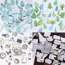 45pcs/box Stationery Stickers Plant Flower DIY Diary Scrapbooking Decor Bullet Journal School Supplise