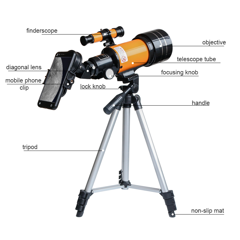 Tools : 150X Refractive  Astronomical Telescope With Phone Clip Outdoor HD Night Vision 150X Telescope Kids Student Present DIY Kit