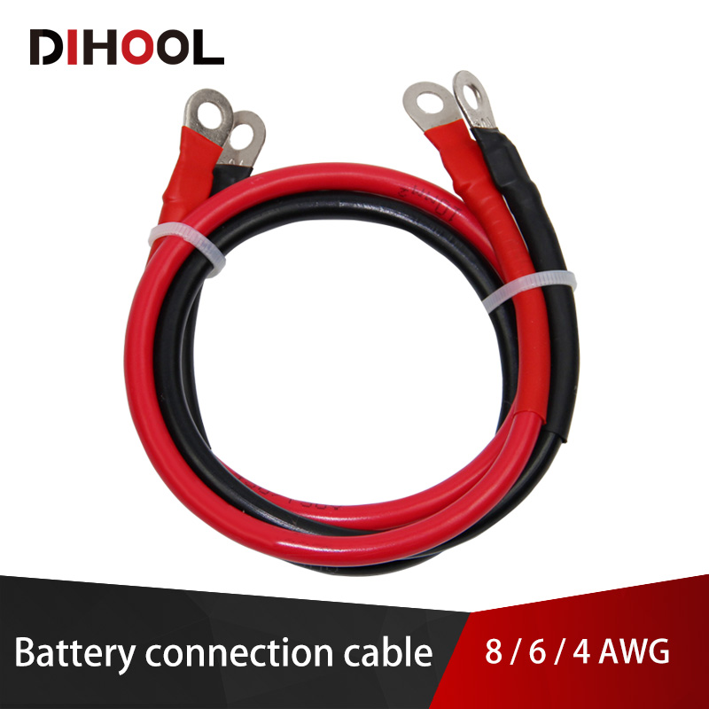 8/6/4 AWG Battery Connection Cable,High Current Copper Wire With Lug,Car Inverter Wire,UPS Battery Series And Parallel Connect