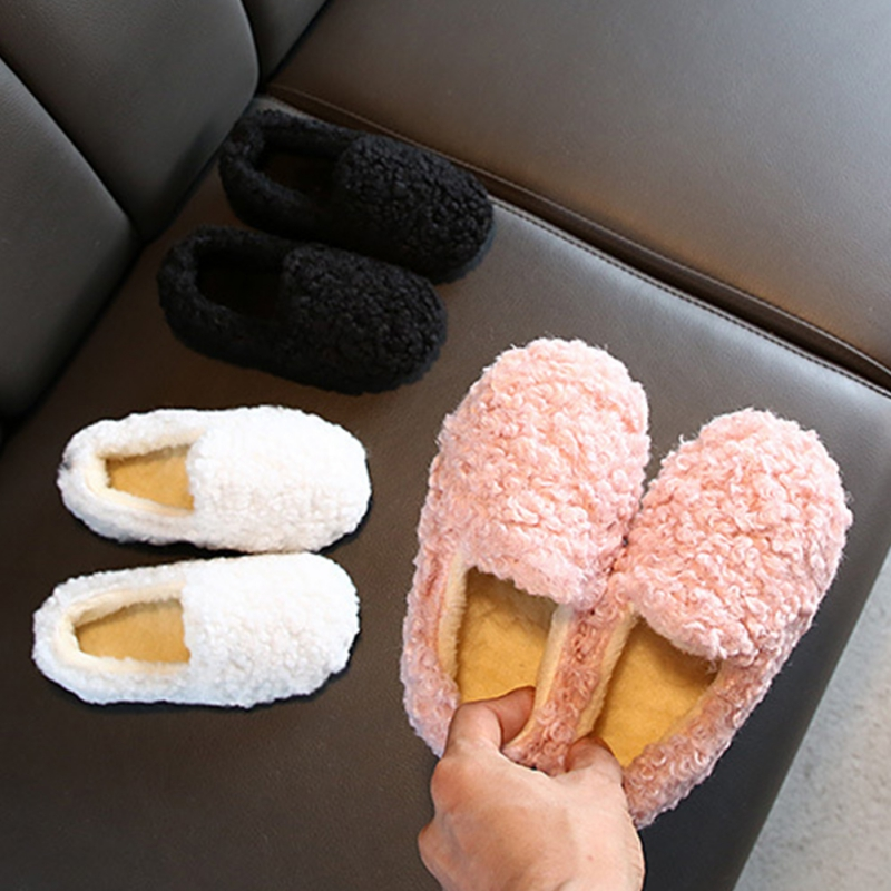 Winter Girl Warm Thicken Bean Shoes Plus Velvet Kids Baby Home Warm Children Fur Cotton For 1-6Yrs Casual Shoes 2019