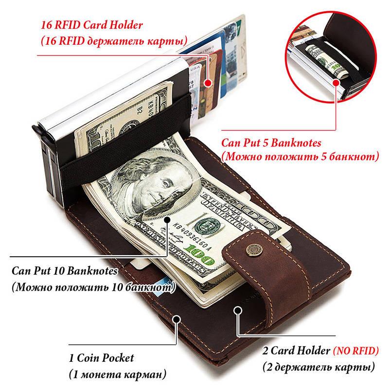 Wallet Men Cardholder-Case RFID Automatically Bank Coin-Purse Crazy-Horse Fashion