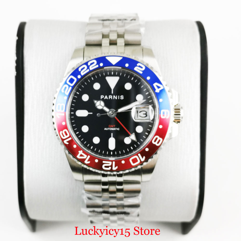 PARNIS 40mm Black Dial Sapphire Glass Mechanical Wristwatch Men GMT Automatic Movement Red Blue Pepsi Watch