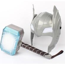 Child Cosplay LED light luminous sounding Helmet Weapon mjolnir hammer quake model toy Costume party kids gift