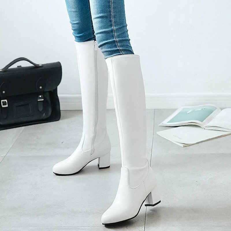 2019 moda fermuar diz yüksek çizmeler kadın yumuşak Pu deri kalın yüksek topuklu uzun çizmeler sonbahar kış kadın ayakkabı boyutu 34-43