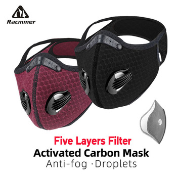 Racmmer Cycling Face Mask Filter Activated Carbon PM 2.5 Anti-Pollution Breathable Dustproof MTB Road Bike Running Cycling Mask