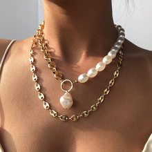 Kpop 2 Layers Baroque Irregular Pearl Necklaces Wedding Party Clavicle Chain Choker Necklace for Women Aesthetic Jewelry