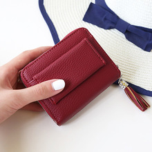 Ougger Short Little Girl Purses Small Mini Cute Wallet Card Holder Red Polyester Fashion Zipper Hasp Coin Purse with Tassel bts 2018 new fashion bts 3d wallet kpop short zipper card wallet girl tassel purses mini cute bags customize bts accessories