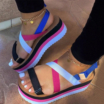 Women Sandals Flat Platform Candy Color Ladies Shoes Woman Summer Casual Slip On Colorful Strap Cross Female Sandal 2020 Uncategorized Ladies Shoes Women's Fashion