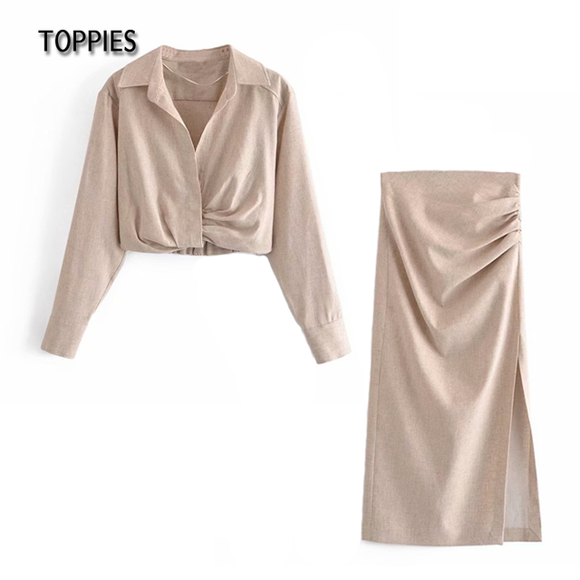 Toppies 2021 Summer Skirts Set Woman Cotton Linen Crop Tops Pleated High Waist Midi Skirts Female Casual Two Piece Set 1