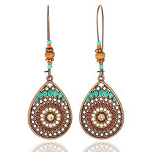 Vintage Metal Long Dangle Earrings Bohemian Ethnic Shell Leave Feathers Sun Round Statement Drop for Women Jewelry 2019