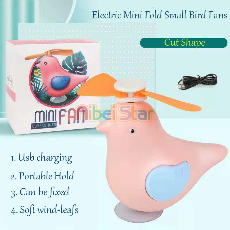 Usb Mini Fold Fans Electric Portable Hold Small Fans Originality Small Household Appliances Desktop Lovely Bird Can Suck Fan