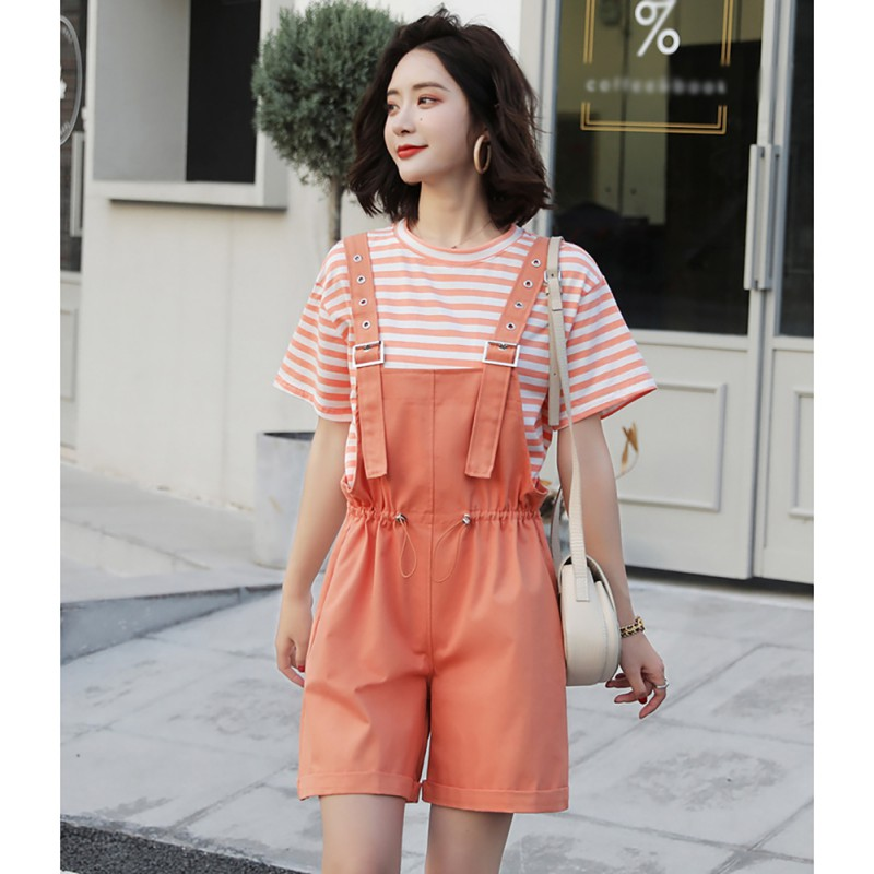 Two-piece Women' Sets Short-sleeve Striped T-shirt Wide-leg Solid Playsuits Short Pants Sweet Loose 2 piece Ladies Suits 2XL