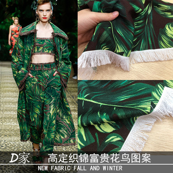 Green leaf printing red plaid fabric brand printed polyester fabric meter fashion dress handmade DIY fabric wholesale cloth