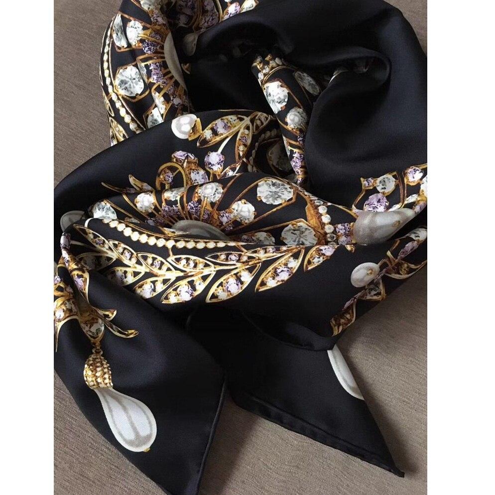 18mm Luxury 100% Twill Silk Scarf Shawl Wraps Double Side Prints 35