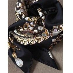 18mm Luxury 100% Twill Silk Scarf Shawl Wraps Double Side Prints 35x35