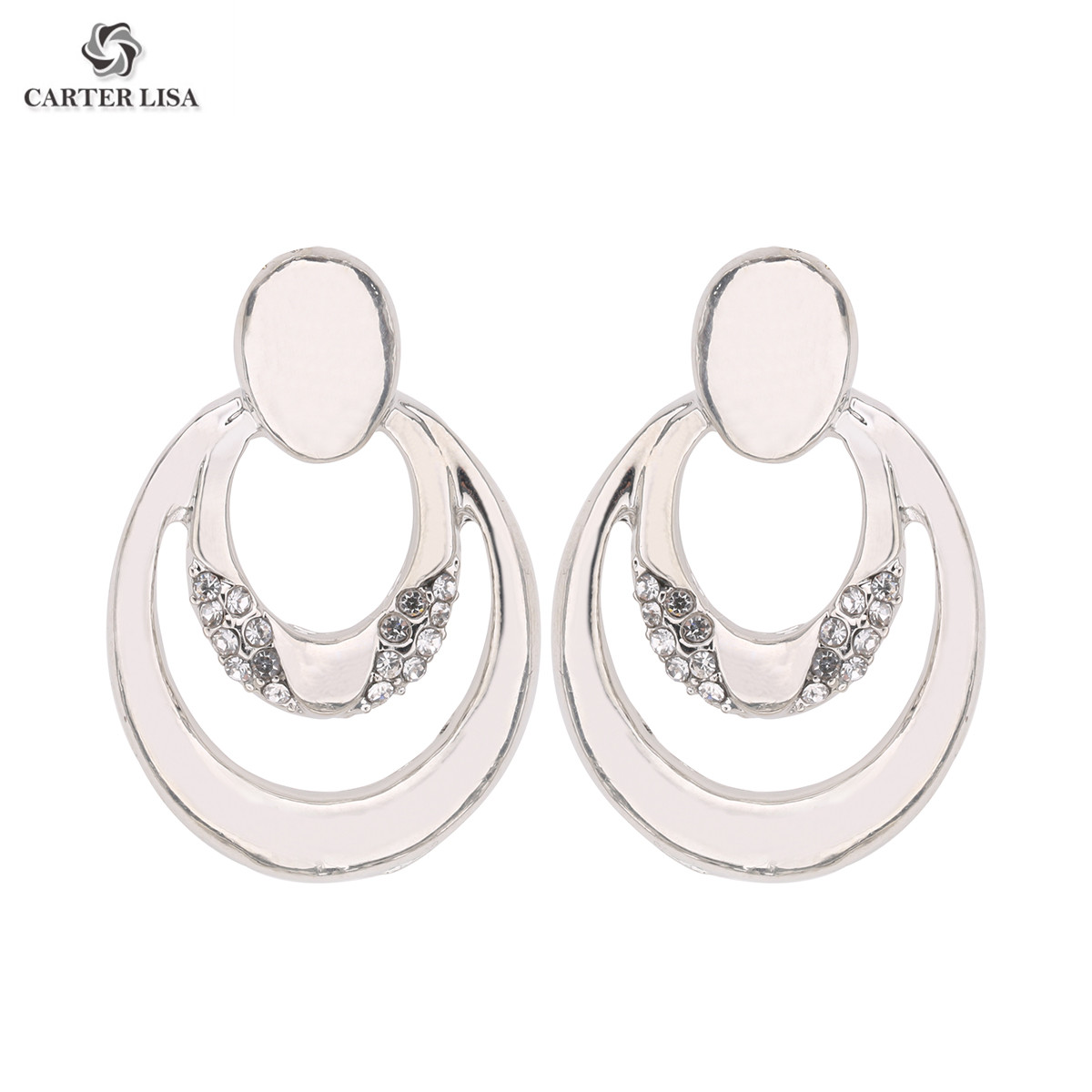 CARTER LISA Alloy Geometry Round Stud Earrings Ladies Elegant Rhinestone Pierced Earrings Brinco Women Jewelry Fashion SEEA-055