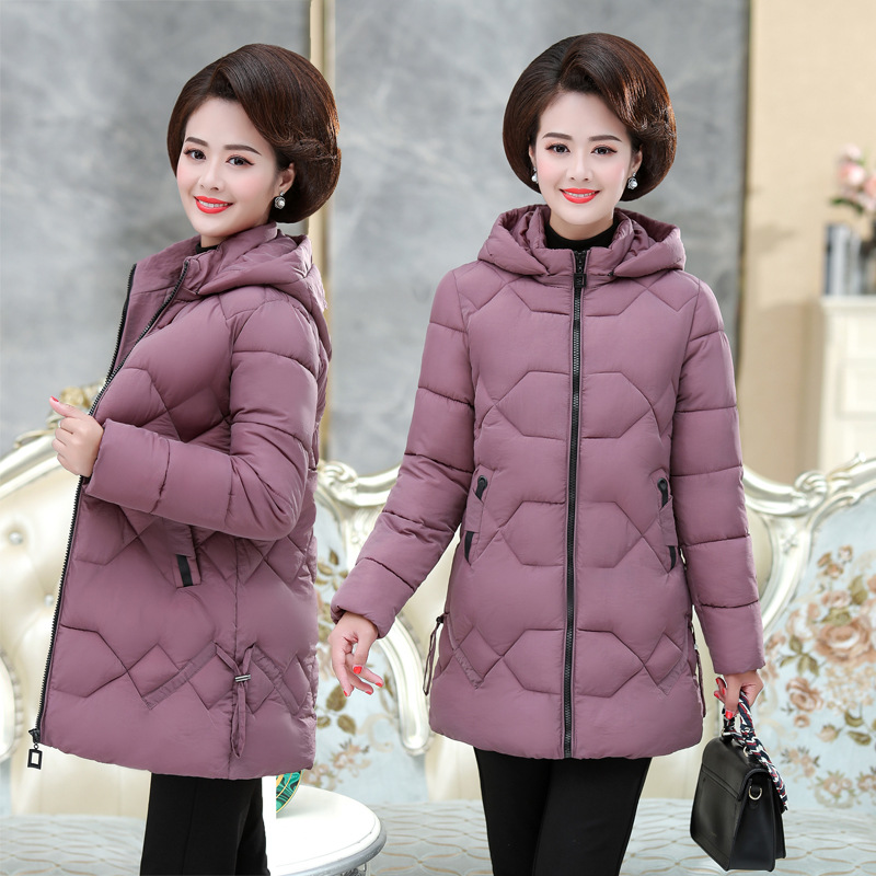 Mother Winter Clothing Big Size Thickened Outerwear, Cotton Clothing Medium-and-long, Lightweight Cotton-padded Jacket