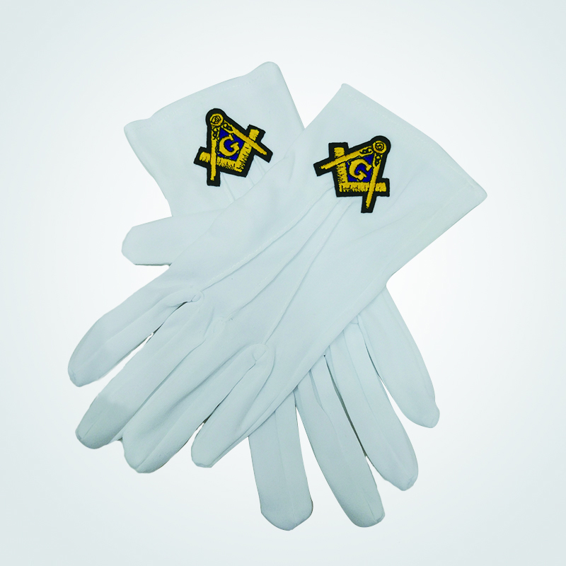 Masonic Royal Arch Hand Embroidered White Gloves High Quality Polyester Masonic Gloves With Embroidery Sign