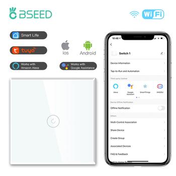 Przełączniki ścienne BSEED WIFI inteligentny ekran dotykowy przełączniki światła LED 1 2 3Gang 2 3 way Google Alexa App przełączniki zasilania przewód neutralny tanie i dobre opinie CN (pochodzenie) ROHS Need Neutral Wire PRZEŁĄCZNIKI Sterowanie aplikacją