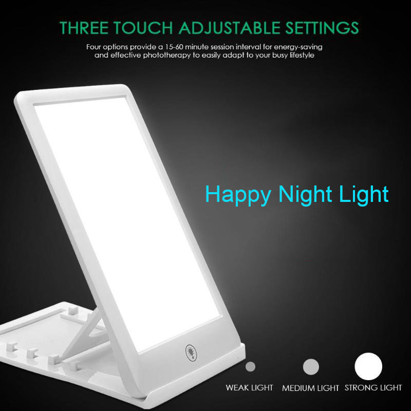 SAD Therapy Lamp Night Light LED 3 Modes Dimmable Happy Light Table Lamp for Office Home Affective Disorder Phototherapy Lamp