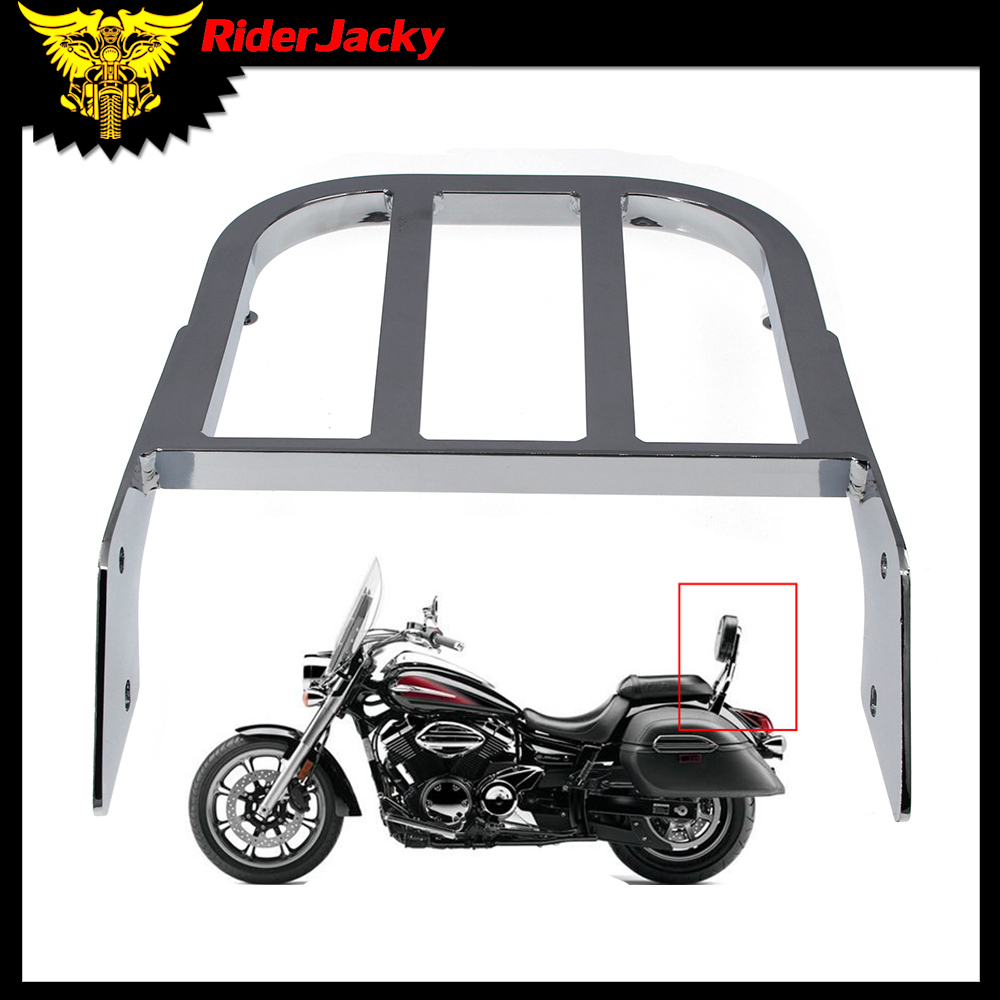 Chrome Motorcycle Backrest Sissy Bar Luggage Rack For Yamaha V-Star 400/650 Classic 650 <font><b>1100</b></font> Classic <font><b>XVS</b></font> 1998-2011 2009 2010 image