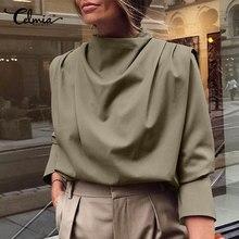 Vintage blusa de las mujeres 2021 Celmia Casual alto Collar Oficina dama camisa Casual suelto de manga larga falda Tops de talla grande Streetwear