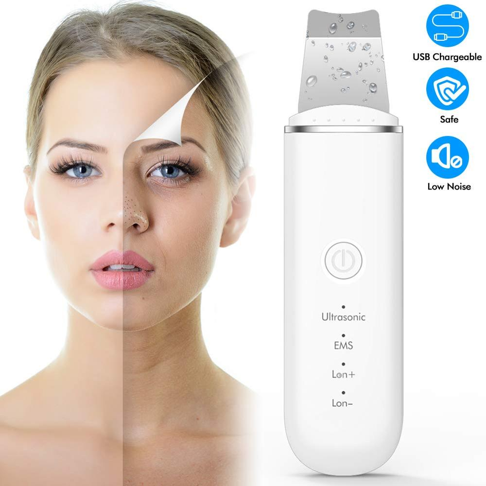 New Ultrasonic Ion Face Cleansing Skin Scrubber Peeling Shovel EMS Facial Pore Cleaner Nu Face Skin Lift Machine Galvanic Spa