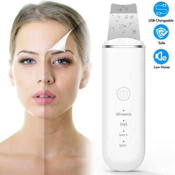 New Ultrasonic Ion Face Cleansing Skin Scrubber Peeling Shovel EMS Facial Pore Cleaner Nu Face Skin Lift Machine Galvanic Spa ultrasonic ion deep cleansing skin scrubber pore cleansing exfoliating to blackhead usb charging portable facial peeling shovel