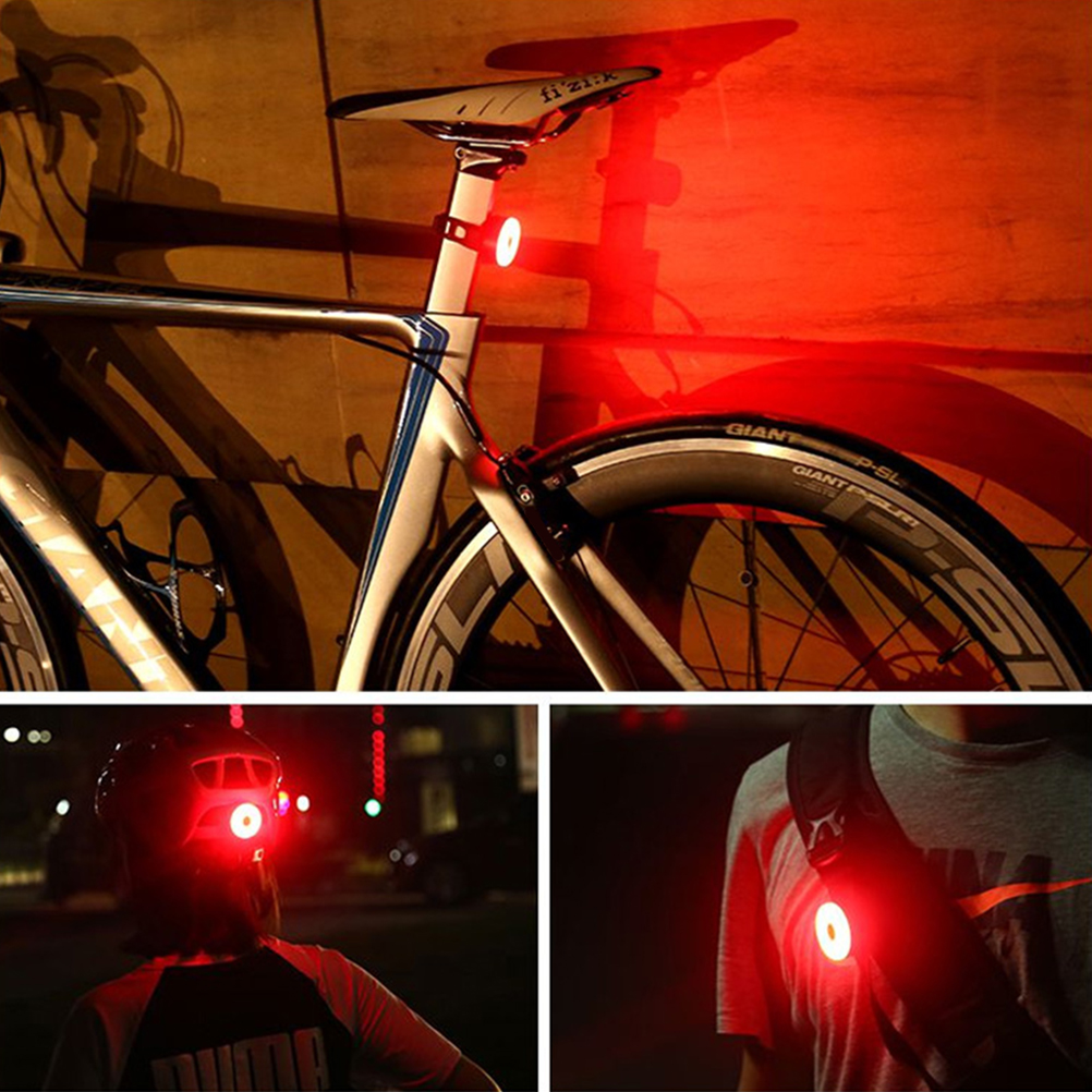Bicycle Bike LED Rear Tail Light Rechargeable USB Helmet Backpack Sport Red Lamp
