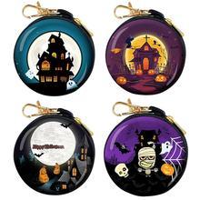Halloween Decoration Gift Coin Purse Creative Cute Cartoon Pumpkin Arrangement Props Supplies Small Wallet Round Purses Pouch