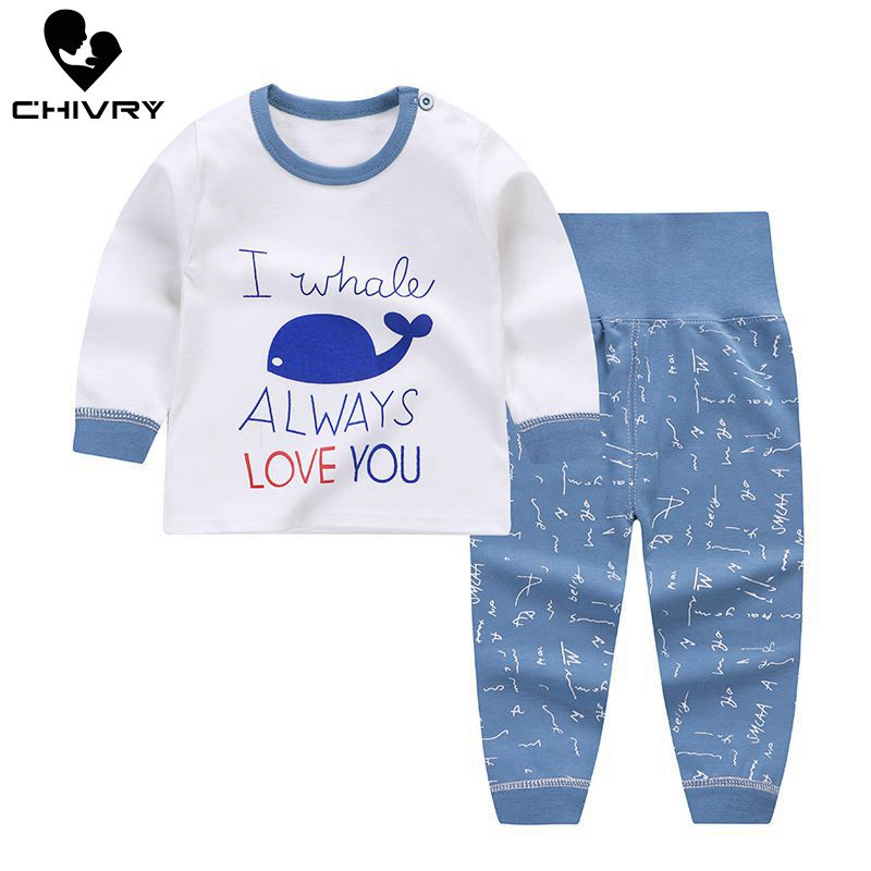 Newborn Kids Boys Girls Pajama Sets Cartoon Print Long Sleeve Cute T-Shirt Tops With Pants Toddler Baby Autumn Sleeping Clothes