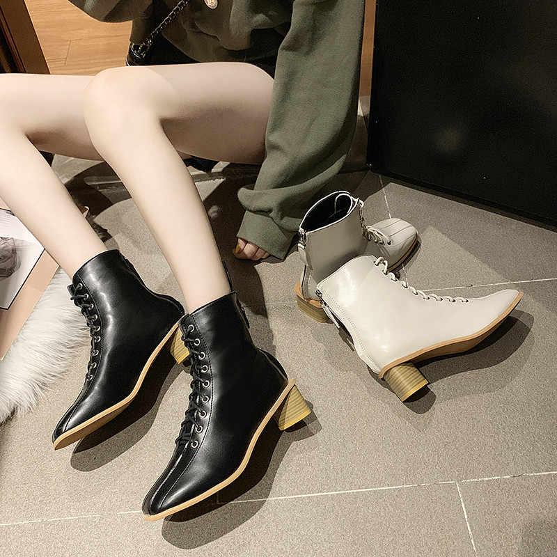 Cootelili Chelsea Boots Cao 5 Cm Gót Giày Buộc Dây Nhiều Màu 2019 Giày Mắt Cá Chân Giày Vuông Mũi Bàn Chân Dài giày Nữ