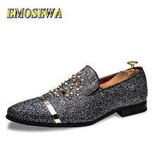 أحذية رجالي بأحجار الراين من EMOSEWA موضة 2019 فاخرة على الطراز الإيطالي أحذية رسمية للرجال فستان زفاف للملهى الليلي بدون كعب رسمي
