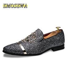 EMOSEWA Mens Rhinestones Dress Shoes 2019 Luxury Italian Style Fashion Men Formal Shoes Nightclub Wedding Dress Formal Loafers