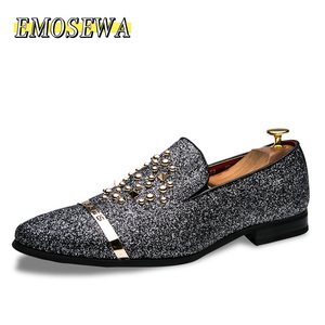 Image 1 - EMOSEWA chaussures en strass pour hommes, chaussures de luxe, Style italien, à la mode, chaussures formelles, en boîte de nuit, mariage, mocassins, 2019