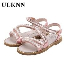 ULKNN new girls sandals little Kids beaded open toe princess shoes Children's performance shoes 2021 summer
