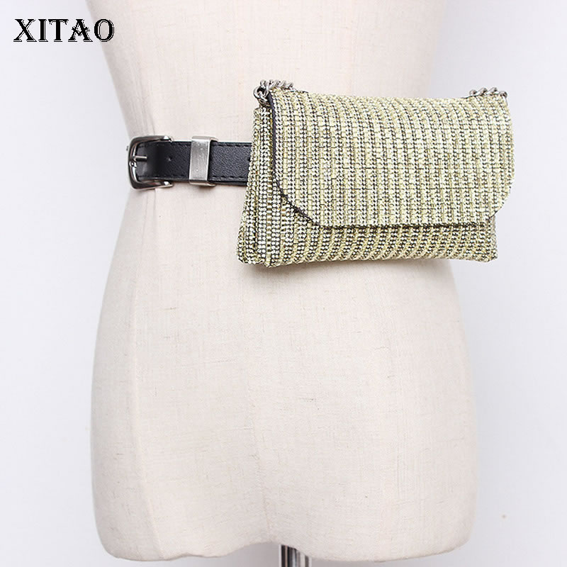 XITAO Rhinestone Fashion Cummerbunds Women Casual Tide Chain Match All Personality Novelty Crossbody Cummerbunds New ZLL4743