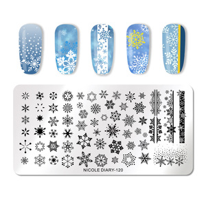 Image 3 - NICOLE DIARY Christmas Series Nail Stamping Plate Stamp Templates Rose Leaf Snake Image Printing Stencil Nail Art Tools