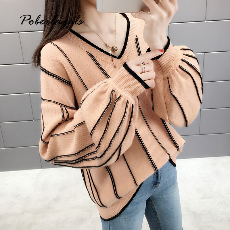 Autumn Sweater Women Winter Knit Pullovers 2019 Stripes Lantern Sleeve Knitted Sweaters Female Jumper Womens Clothing Pull Femme