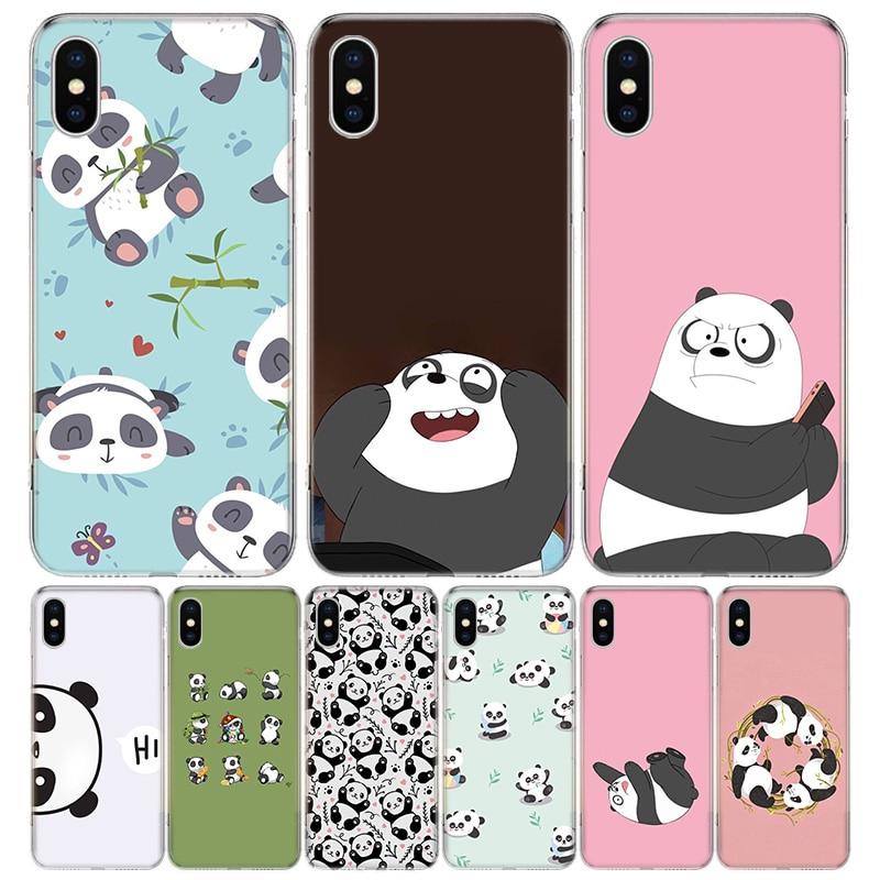 Panda mignon couverture téléphone étui pour iphone 11 Pro 7 6X8 6S Plus XS MAX + XR 5S SE 10 dix Art